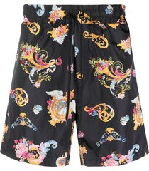 versace jeans couture paisley swim shorts - black