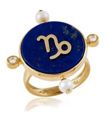 anel astrale capricornio amarelo c/ diamante branco e perola