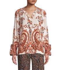 kobi halperin women's rita paisley silk blouse - mandarin multicolor - size xl