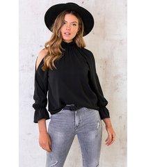 cold shoulder blouse zwart