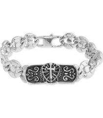 men's cross plate circle link bracelet in stainless steel & black ion-plate