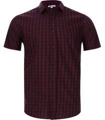 camisa a cuadros manga corta color vino, talla xs