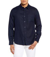 men's vince regular fit linen shirt, size small - blue