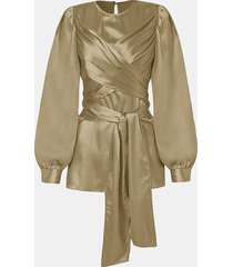 camicetta a maniche lunghe annodata con scollo tinta unita per donna