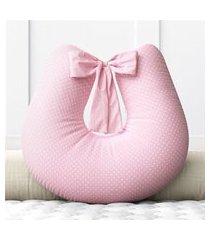 almofada amamentação mini poá rosa c/ zíper grão de gente rosa