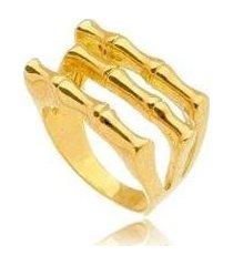 anel liso 3 tiras no banho ouro - feminino