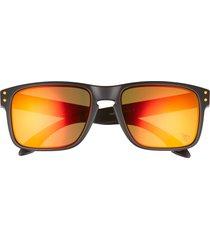 oakley holbrook 57mm sunglasses in black/red/orange at nordstrom