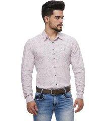 camisa fit zaiko estampada manga longa masculina