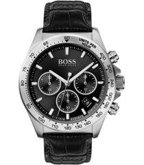 boss men's chronograph hero black leather strap watch 43mm