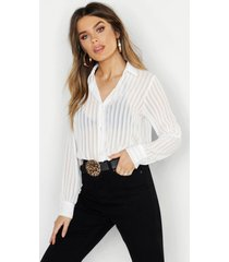 woven burnt out stripe shirt, ivory
