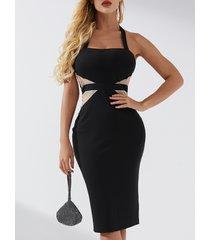 vestido de cuello cuadrado de patchwork de diseño negro sin espalda yoins