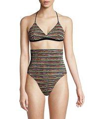 striped 3-piece bikini top, bottom & bag set