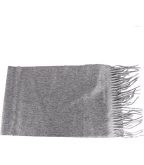 alexander mcqueen grey cashmere scarf with embroidered logo