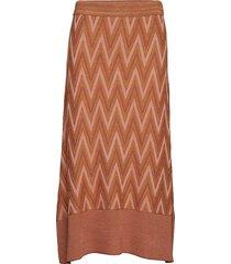 bea knit skirt knälång kjol brun second female