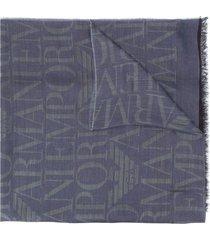 emporio armani lightweight logo knit scarf - blue