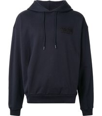 martine rose logo embroidered hoodie - blue