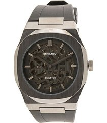 d1 milano skeleton rubber 41.5mm watch - black