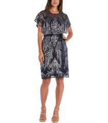 r & m richards petite sequined flutter-sleeve dress