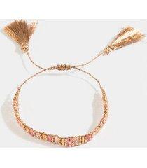 kimberly beaded tassel bracelet - rose/gold