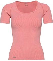 bubblegum washed ribbed t-shirt t-shirts & tops short-sleeved rosa aim'n