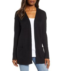 women's caslon open front pocket cardigan, size xx-large - black