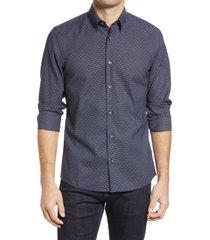 men's nordstrom trim fit crisscross jacquard pattern button-up shirt, size large - blue
