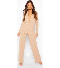 oversized blazer & wide leg trouser suit set, stone