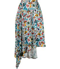 charles jeffrey loverboy mushroom print midi skirt - multicolour