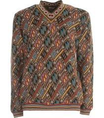 etro diamond pattern v-neck sweater