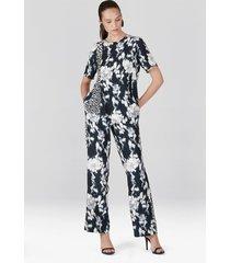 natori tie-dye floral fluid crepe asymmetrical hem top, women's, white, size s natori