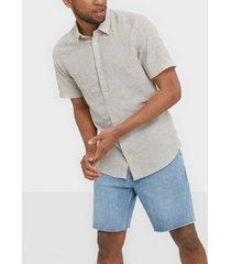 only & sons onscaiden ss linen shirt noos skjortor grå
