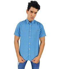 camisa de vestir azul de cuadros