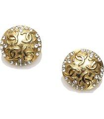 chanel cc rhinestone clip-on earrings gold sz: