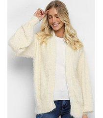 casaco tricô farm pelinho brilho baem feminino