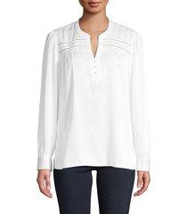karl lagerfeld paris women's textured split neck top - soft white - size xs