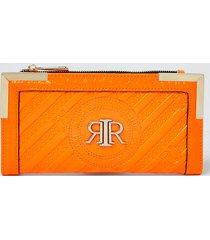 river island womens orange ri embossed zip around purse