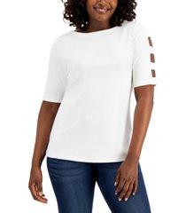 karen scott cotton cutout-sleeve top, created for macy's