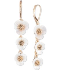 lonn & lilly gold-tone & imitation mother-of-pearl flower linear drop earrings