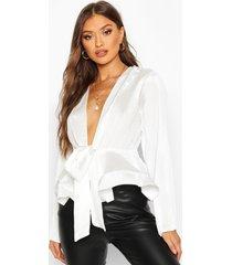 geweven gekreukelde blouse met ceintuur, wit