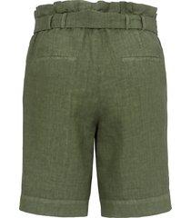 bermuda van 100% linnen met brede tailleband van peter hahn groen