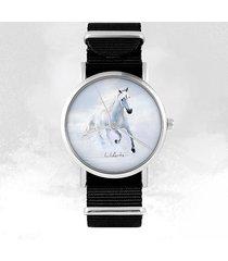 zegarek - biały koń biegnący - czarny, nylonowy