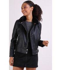 jaqueta feminina biker em suede gola perfecto em pelúcia preta