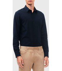 camisa calvin klein ml azul - calce slim fit