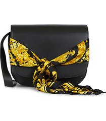 barocco-print scarf leather shoulder bag