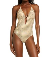 women's tory burch basket weave print ring one-piece swimsuit, size small - orange