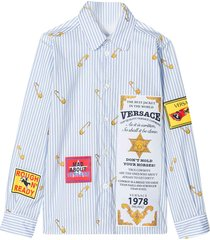 young versace light blue shirt with multicolor press