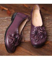 socofy scarpe basse vintage casual slip-on in pelle nappa morbida a fiore