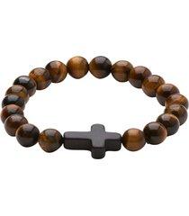pulseira trendy4man masculina cross marrom marrom