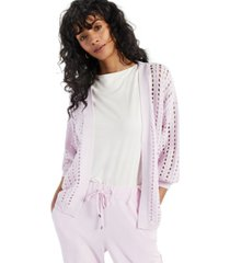alfani modern lounge puff-sleeve open-knit cardigan, created for macy's