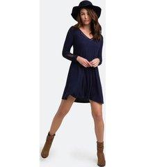 breena lace sleeve dress - navy